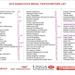 2016 SAMANTHA'S BRIDAL FAIR EXHIBITORS LIST